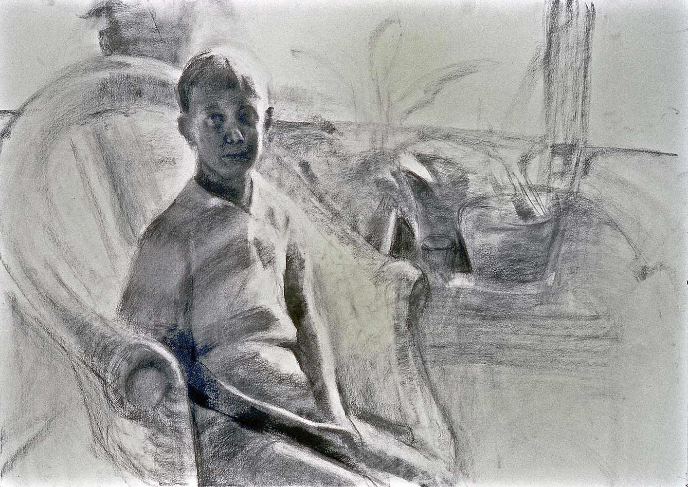 Child in Morning Light, charcoal and conte