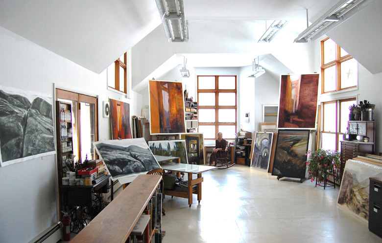 photo of artist in studio